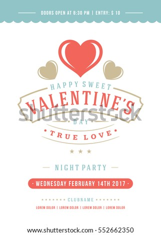 Happy valentines day party invitation poster stock photo photo happy valentines day party invitation or poster vector illustration retro typography design heart shape stopboris Images