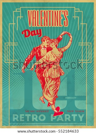 Happy valentines day party poster design stock vector 552184633 happy valentines day party poster design template retro dance party typography flyer invitation vector illustration stopboris Image collections