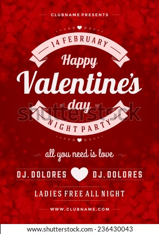 happy valentines day party poster design template typography flyer invitation vector illustration - Valentine Poster