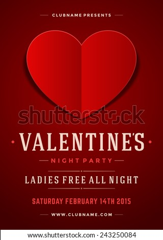 Happy Valentines Day Party Poster Design Template. Typography flyer invitation vector illustration. - stock vector