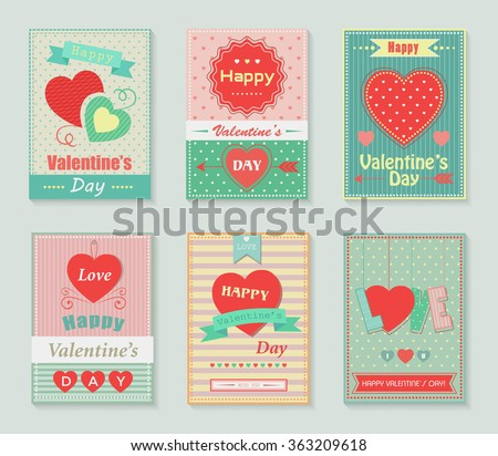 Happy valentines day retro cards - stock vector