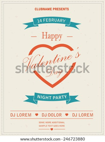 Happy Valentines Day Retro Party flyer invitation. Vector illustration. - stock vector