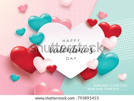 Happy Valentines Day romance greeting card with 3D hearts