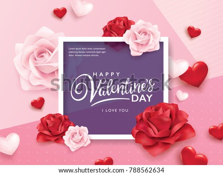 Happy Valentine's Day romance greeting card with roses and hearts