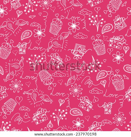 Happy Valentines Day seamless pattern. Vector Illustration