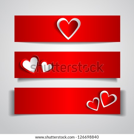 Happy Valentines Day Set of three Web Banners - stock vector