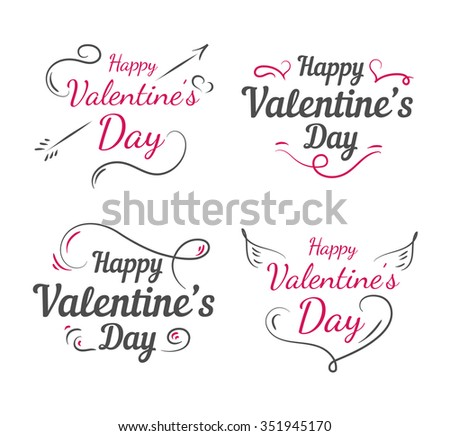 Happy valentines day set. Romantic vector illustration for event design, party poster, postcard or invitation.