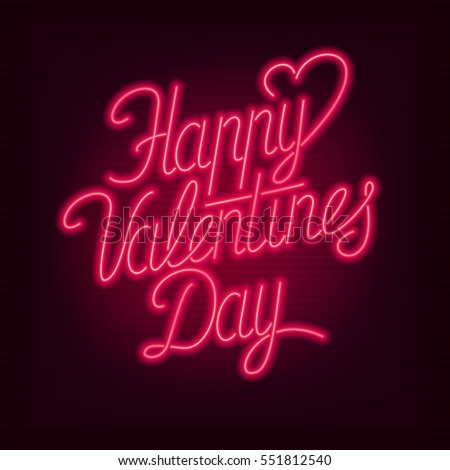 Happy Valentines Day text. Vector neon sign. Valentine's card.