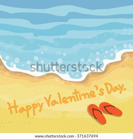 Happy valentines day text written by hand in sand on the beach. - stock vector