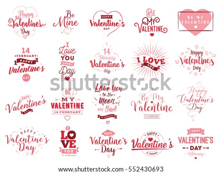 Happy valentines day typography set vector stock vector 552430693 happy valentines day typography set vector text design usable for banners greeting cards m4hsunfo