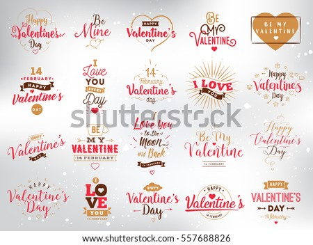 Happy valentines day typography set vector stock vector 557688826 happy valentines day typography set vector text design usable for banners greeting cards m4hsunfo