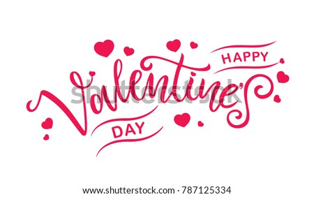 happy valentines day typography poster handwritten stock vector valentines day text