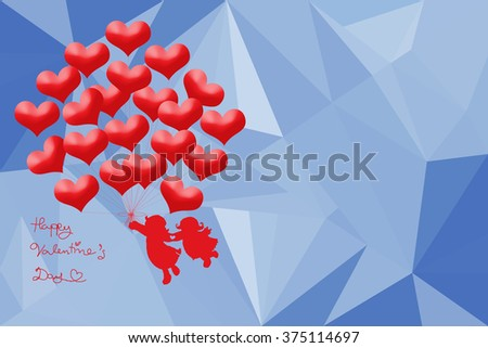 Happy Valentines Day.vector holiday illustration of couple hold flying bunch of red balloon hearts in heart .Low poly sky blue background.