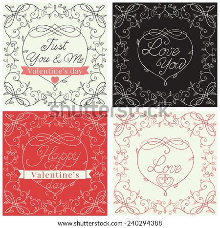 Happy valentines day! Vector set of borders with floral pattern and  text  at retro style  - stock vector