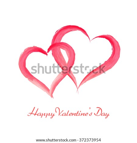 Happy Valentines Day. Watercolor brush painted romantic hearts on white background. - stock vector