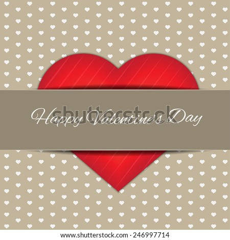 Happy Valentines Day With Paper Belt, high quality vector graphic EPS10 - stock vector