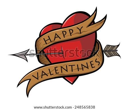 Happy Valentines Heart Sticker. Tattoo Style - stock vector