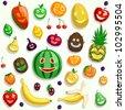 Happy vector fruit faces - stock vector