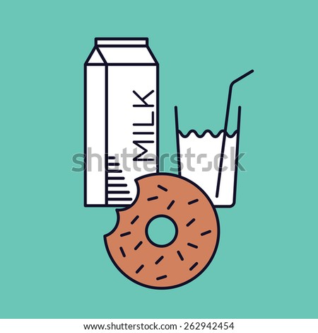 Happy vector graphic minimal icon of a donut with milk in vibrant colors - stock vector