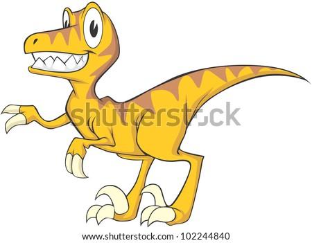 Happy Velociraptor Cartoon - stock vector