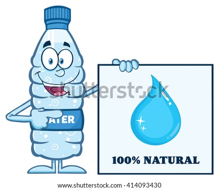 Happy Water Plastic Bottle Cartoon Mascot Character Holding And Pointing To A Banner With Text. Vector Illustration Isolated On White - stock vector