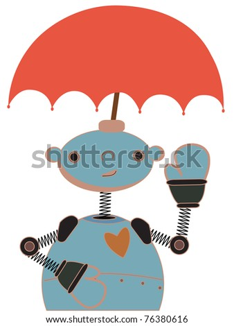 Happy waving robot with red umbrella attached to head - stock vector
