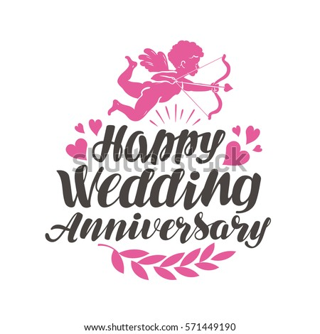 Happy wedding anniversary label beautiful lettering happy wedding anniversary label with beautiful lettering calligraphy vector illustration voltagebd Choice Image