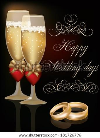 Happy Wedding Day Greeting Card Vector Illustration