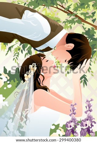 Happy Wedding Photo - cute girl and handsome boy looking at each other with lovely smile and posing kiss in purple flower garden on background of decorative wall of fresh leaves : illustration - stock vector