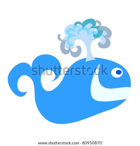 Happy Whale. A cute smiling happy whale cartoon.