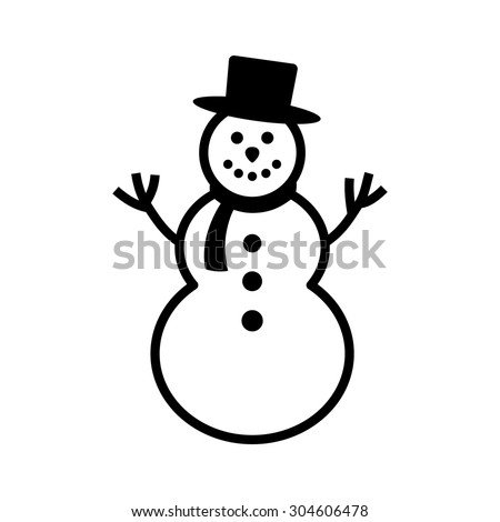 Happy winter snowman with hat and scarf line art icon for apps and websites