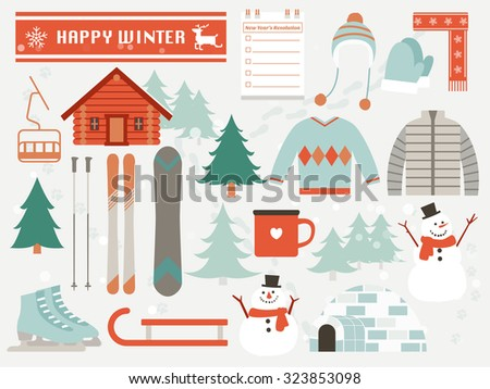 happy winter,winter elements,season greeting - stock vector