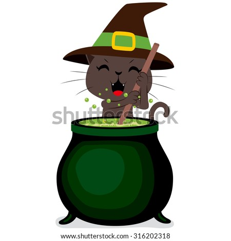 Happy witch cat cooking potion brew on magic cauldron on Halloween