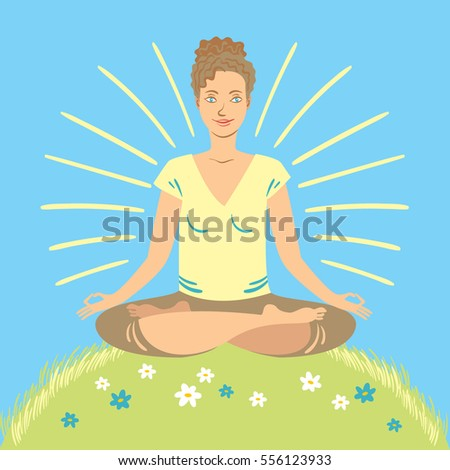 Happy woman meditating on a green, flower filled hillside on a sunny day.
