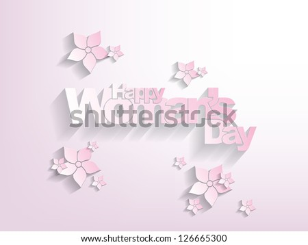 Happy woman's day Background paper version with flowers on it. - stock vector
