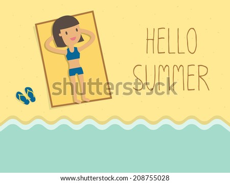 happy woman sunbathing on a beach - stock vector