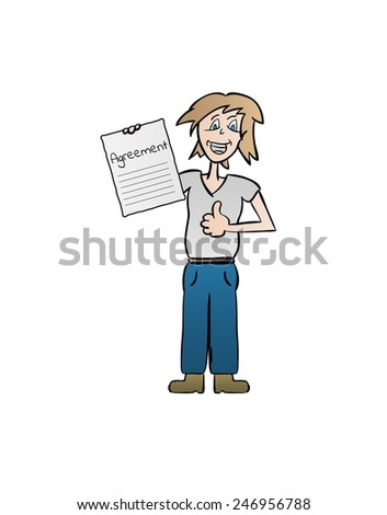 happy woman with agreement paper, cartoon, isolated - stock vector