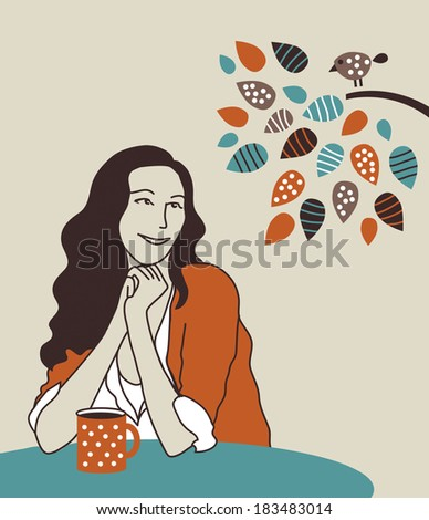 Happy woman with morning coffee on nature. Happy unrecognizable young beuty woman with morning coffee on nature. Color vector illustration. - stock vector