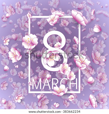 Happy Women Day Paper Design. Vintage Background With Flying Cherry Blossom. 8 March vector illustration - stock vector
