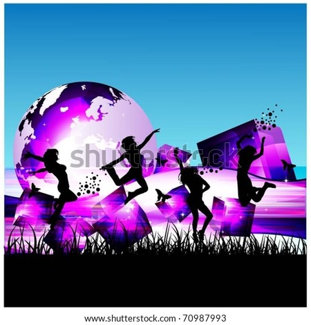 happy women jumping vector - stock vector