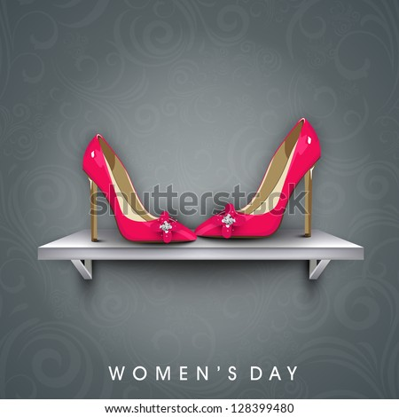 Happy Women's Day background with pair of a ladies shoe. - stock vector
