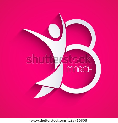 Happy Women's Day greeting card or background and space for your message on pink. EPS 10. - stock vector