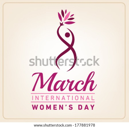 Happy Women's Day Greeting Card. Vector Illustration