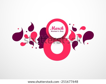 Happy Women's Day greeting card with beautiful designing elements. - stock vector