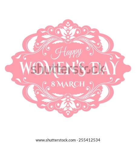 Happy Women's Day. 8 March lettering. Vector illustration - stock vector