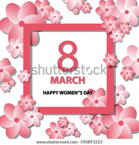 Happy Womens Day Pink White Floral Stock Vector 590893223 - Shutterstock