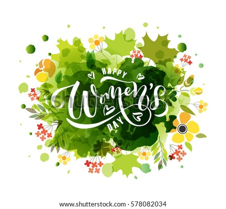 Happy Women's Day text as International Women's Day badge/tag/icon. Text card/invitation/banner template. Love background. Happy Woman's Day lettering typography poster. Vector illustration EPS 10