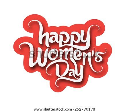 Happy Women's Day Text Design Element. - stock vector