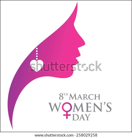 Happy Women's Day women face greeting card, gift card on pink background with design of a women face and text 8th March International women day  - stock vector