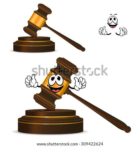 Happy wooden gavel cartoon character with golden elements and round striking surface for justice, courts or auction design - stock vector
